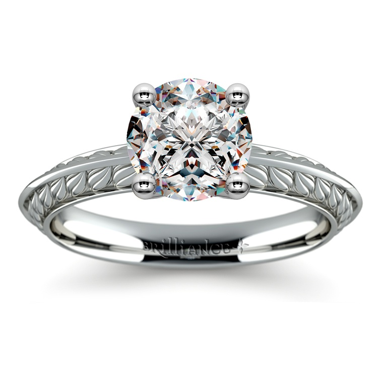 Antique Floral Knife Edge Solitaire Engagement Ring in White Gold | 01