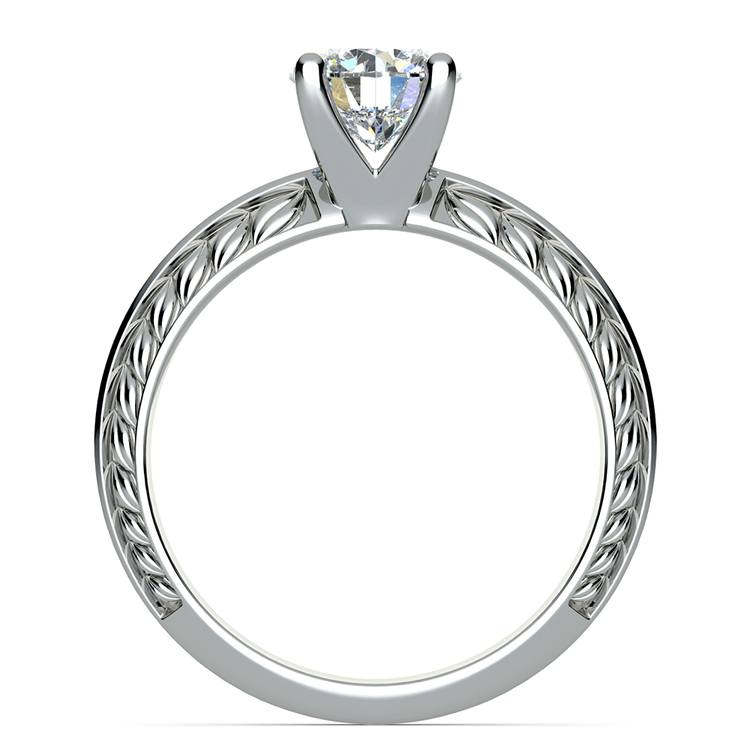 Antique Floral Knife Edge Solitaire Engagement Ring in White Gold | 02