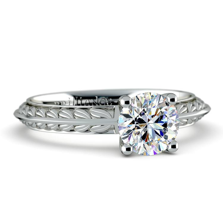 Antique Floral Knife Edge Solitaire Engagement Ring in White Gold | 04