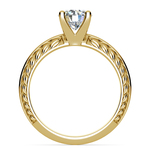 Antique Floral Knife Edge Solitaire Engagement Ring in Yellow Gold | Thumbnail 02