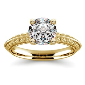 Antique Floral Knife Edge Solitaire Engagement Ring in Yellow Gold
