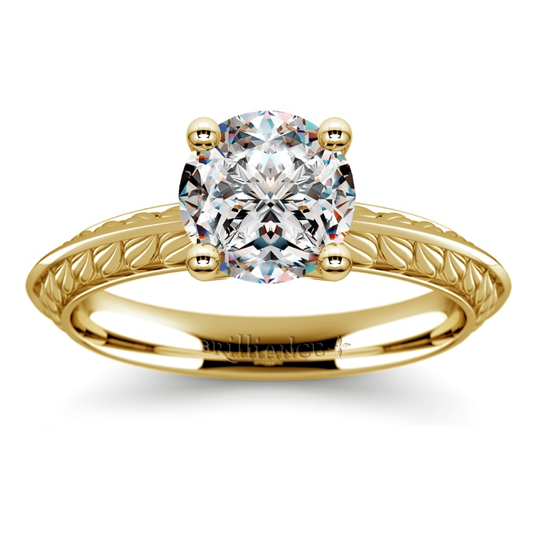 Antique Floral Knife Edge Solitaire Engagement Ring in Yellow Gold | 01