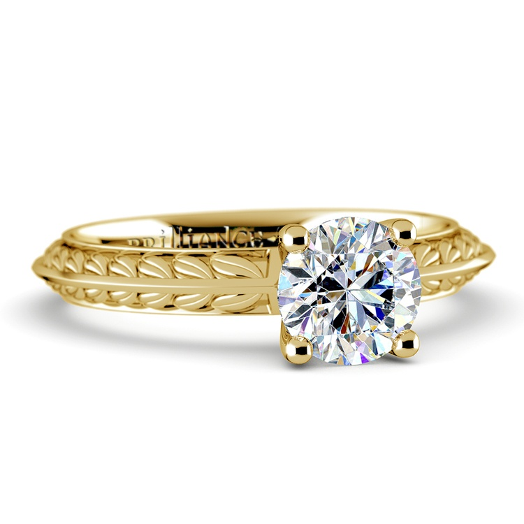 Antique Floral Knife Edge Solitaire Engagement Ring in Yellow Gold | 04