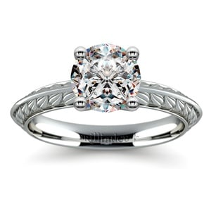 Antique Floral Knife Edge Solitaire Engagement Ring in Platinum