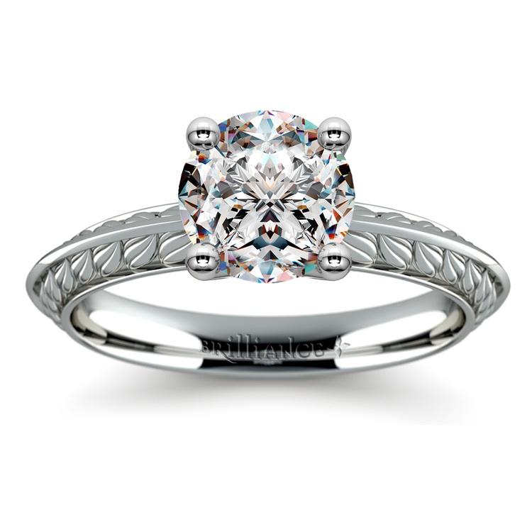 Antique Floral Knife Edge Solitaire Engagement Ring in Platinum | 01