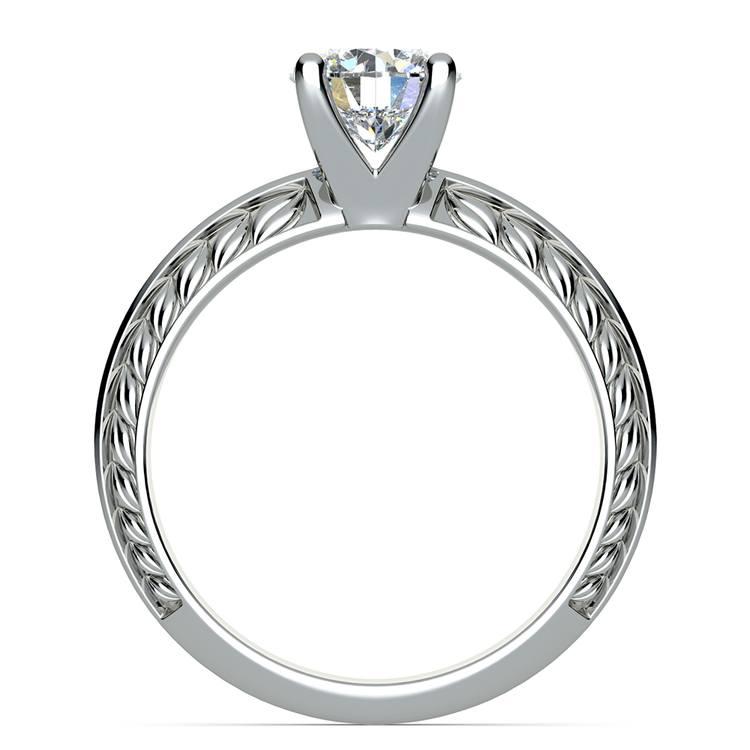 Antique Floral Knife Edge Solitaire Engagement Ring in Platinum | 02
