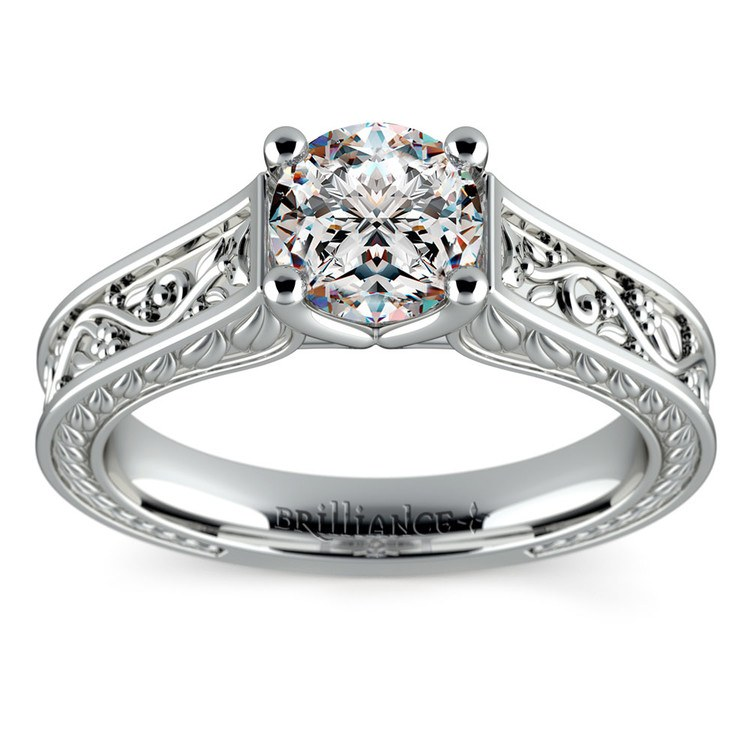 Antique Floral Solitaire Engagement Ring in Platinum | 01
