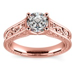 Antique Floral Solitaire Engagement Ring in Rose Gold | Thumbnail 01