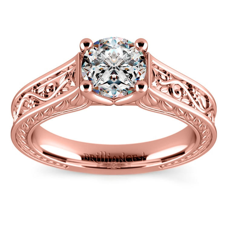 Antique Floral Solitaire Engagement Ring in Rose Gold | 01