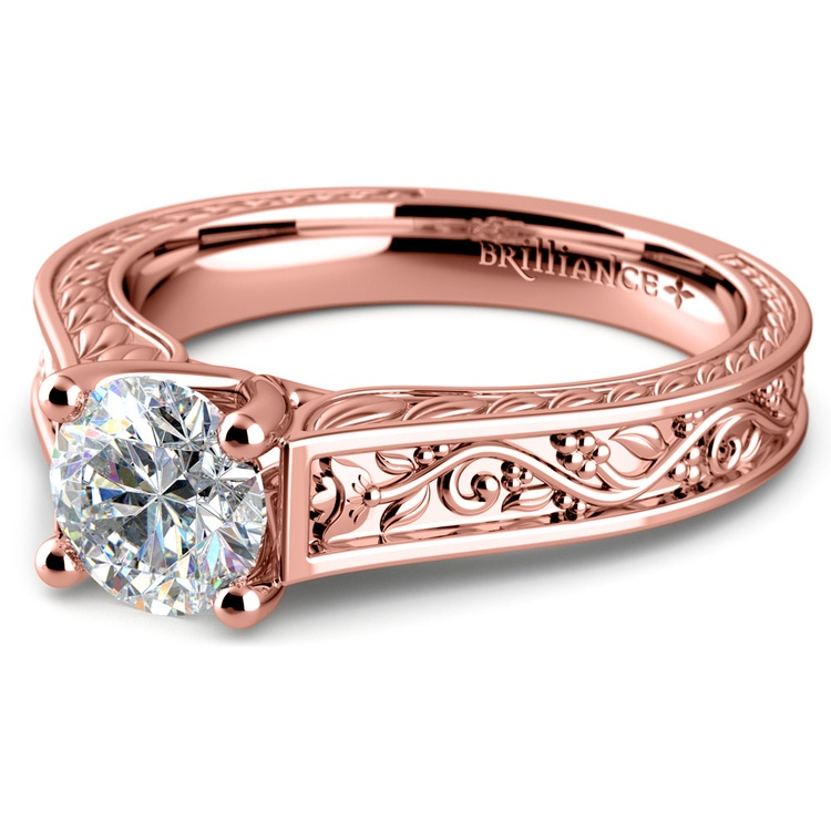 Antique Floral Solitaire Engagement Ring in Rose Gold | 04