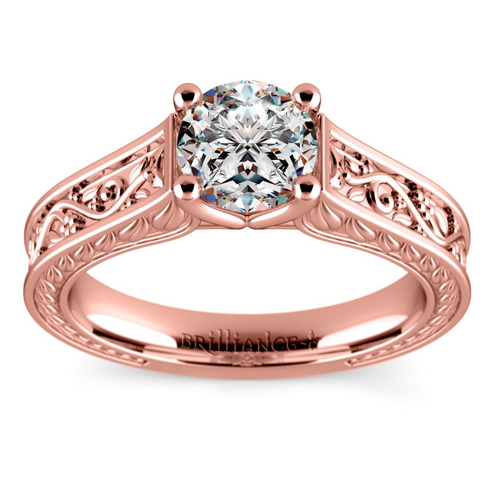antique floral solitaire engagement ring in rose gold. Black Bedroom Furniture Sets. Home Design Ideas
