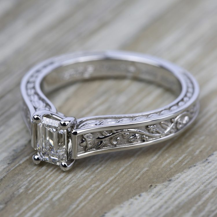 Antique Floral Solitaire Engagement Ring in White Gold | 05