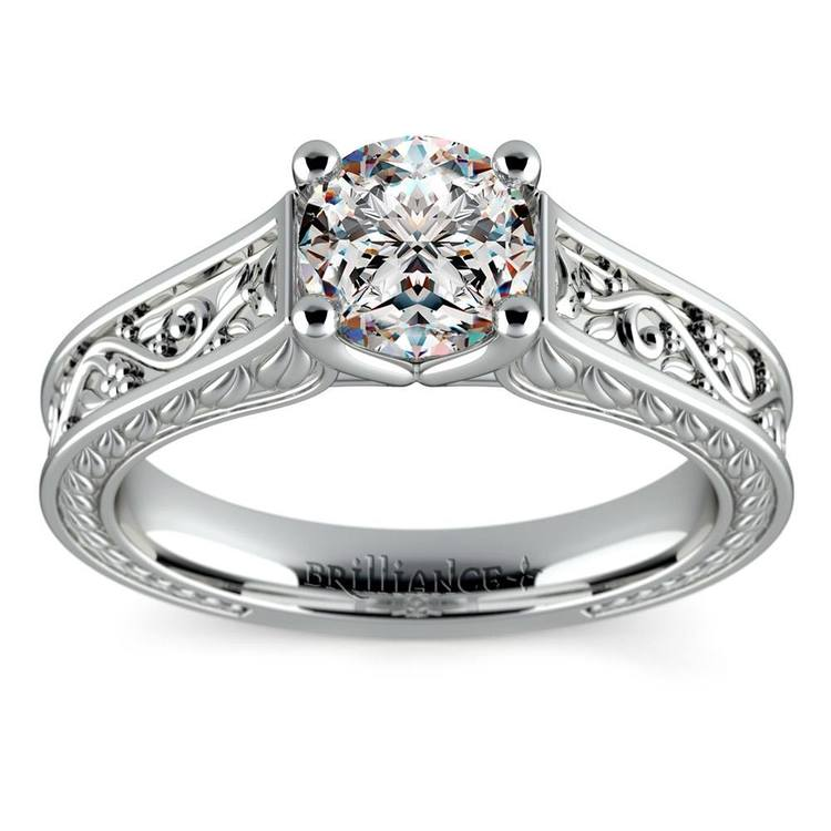 Antique Floral Solitaire Engagement Ring in White Gold | 01
