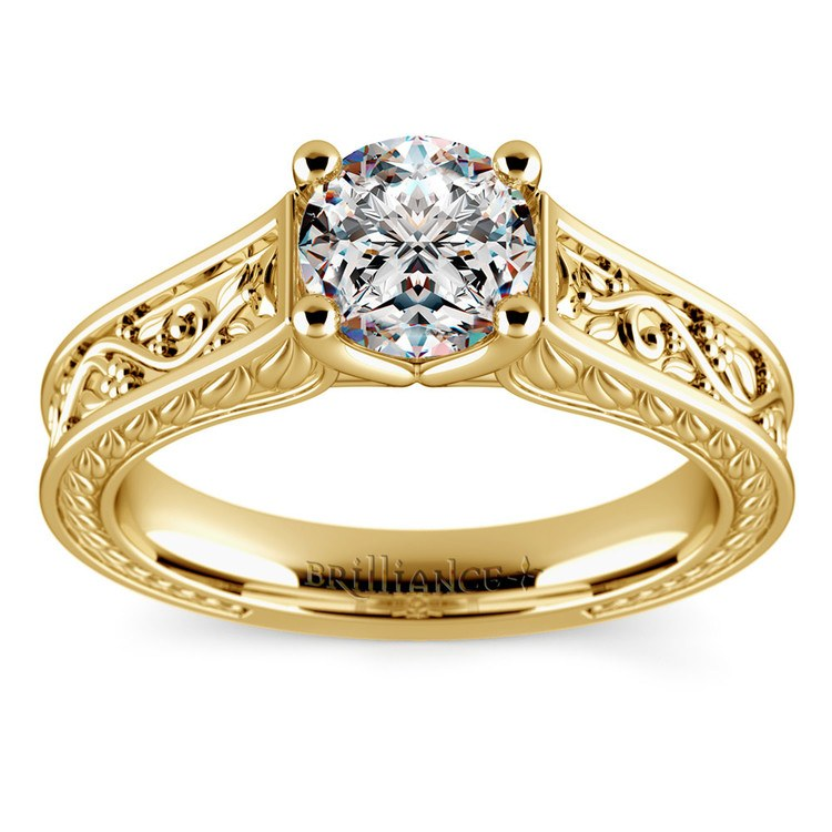 Antique Floral Solitaire Engagement Ring in Yellow Gold | 01