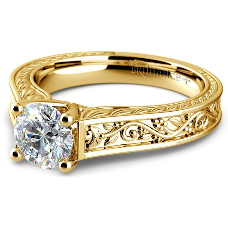 Antique Floral Solitaire Engagement Ring in Yellow Gold | 04