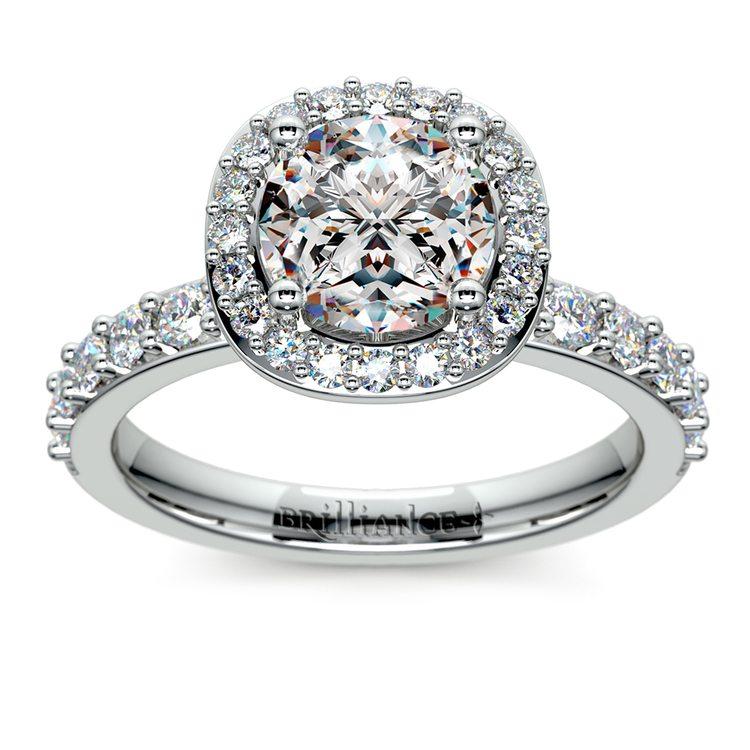 Antique Halo Diamond Engagement Ring in Platinum   01