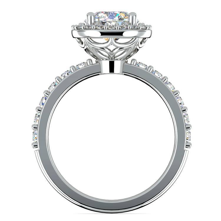 Antique Halo Diamond Engagement Ring in Platinum   02
