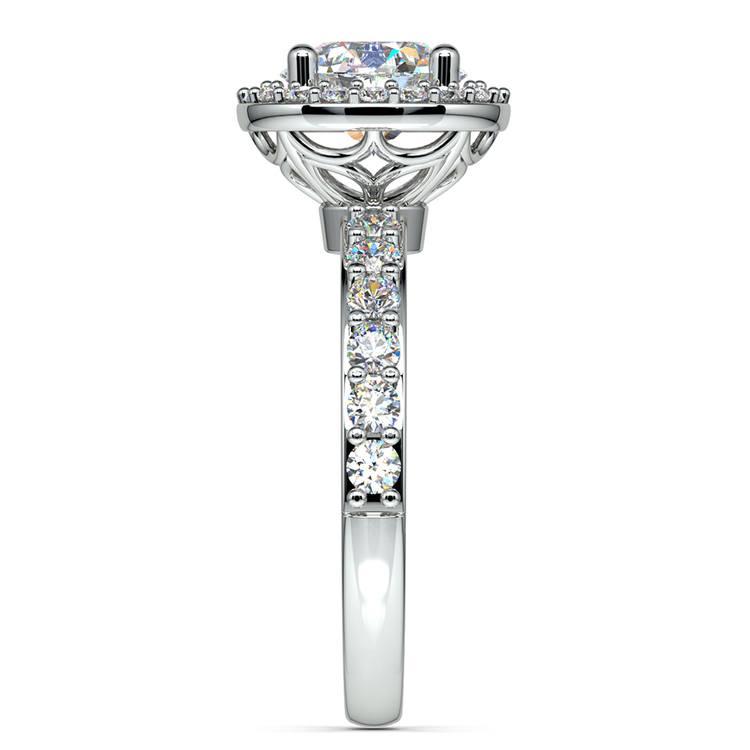 Antique Halo Diamond Engagement Ring in Platinum   03
