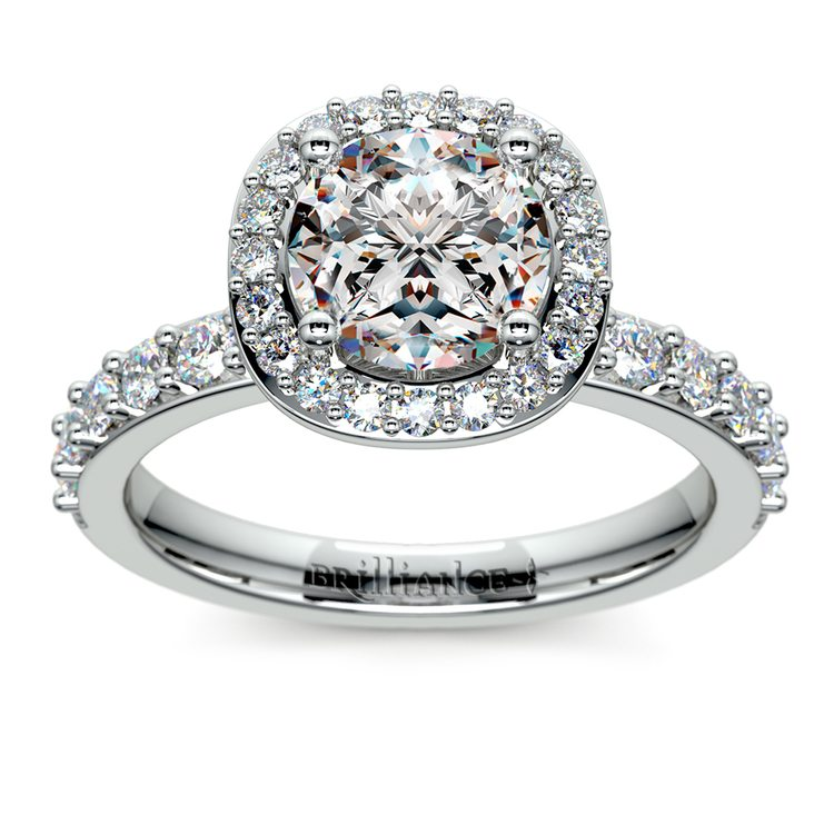 Antique Halo Diamond Engagement Ring in White Gold | 01