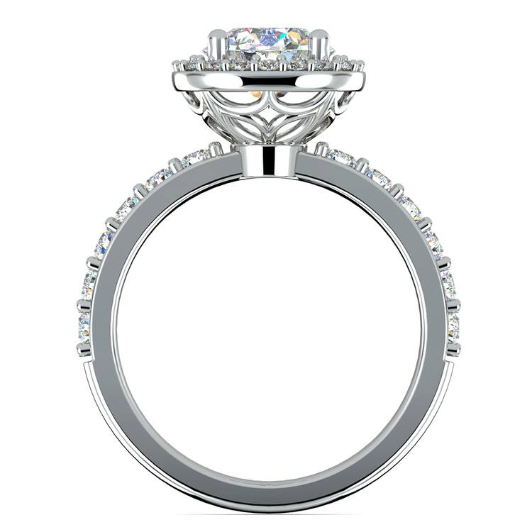Antique Halo Diamond Engagement Ring in White Gold | 02