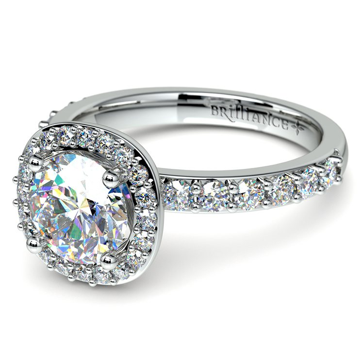Antique Halo Diamond Engagement Ring in White Gold | 04