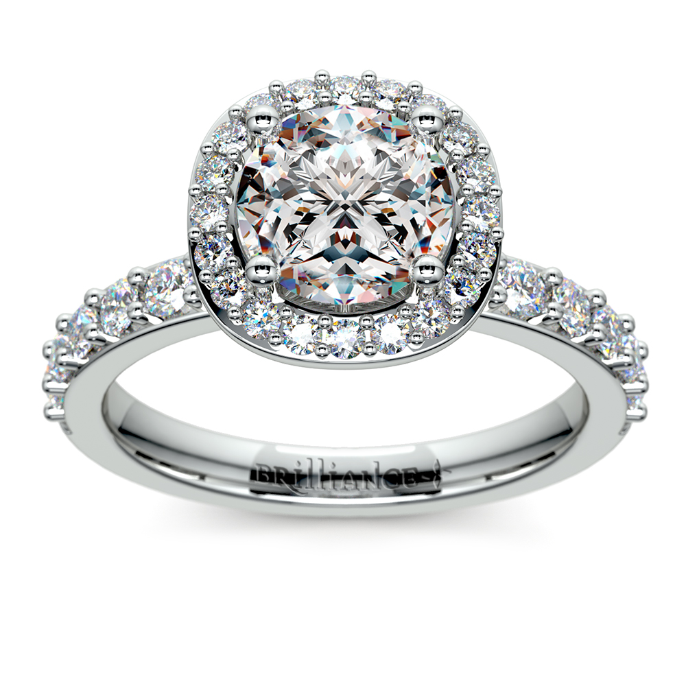 antique halo engagement ring in white gold