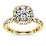 Antique Halo Diamond Engagement Ring in Yellow Gold | Thumbnail 01