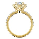 Antique Halo Diamond Engagement Ring in Yellow Gold | Thumbnail 02
