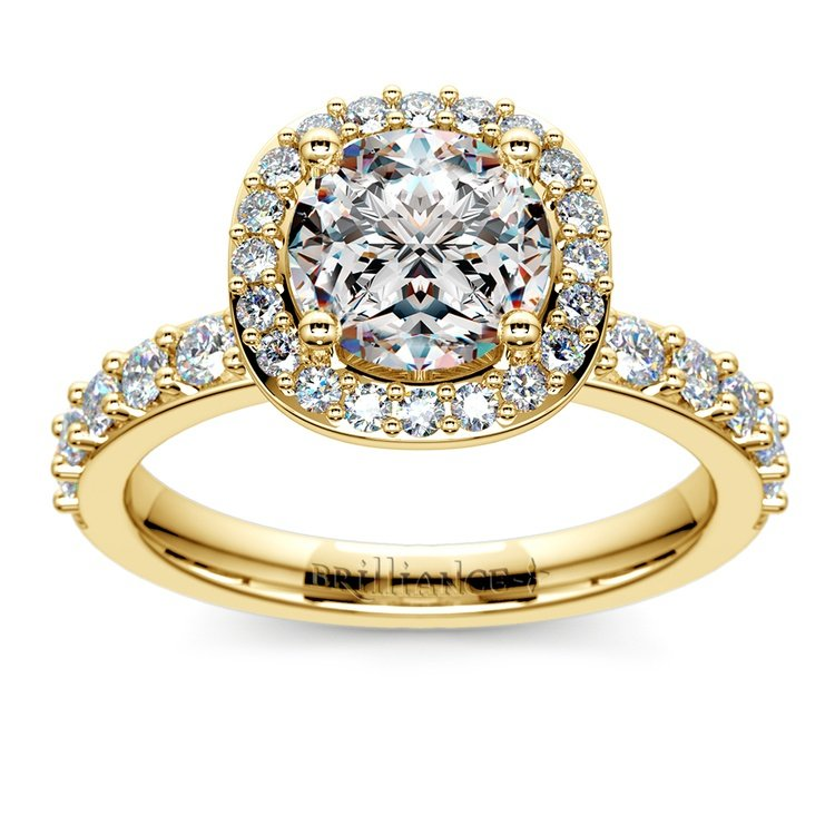 Antique Halo Diamond Engagement Ring in Yellow Gold | 01