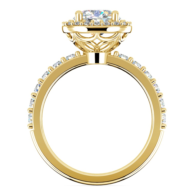 Antique Halo Diamond Engagement Ring in Yellow Gold | 02
