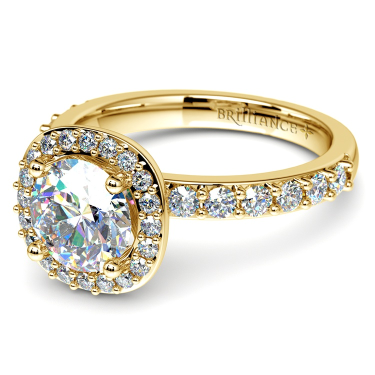 Antique Halo Diamond Engagement Ring in Yellow Gold | 04