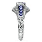 Antique Halo Diamond & Sapphire Engagement Ring in Platinum | Thumbnail 03