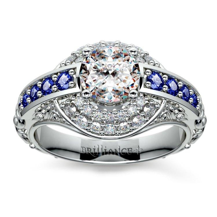 Antique Halo Diamond & Sapphire Engagement Ring in Platinum | 01