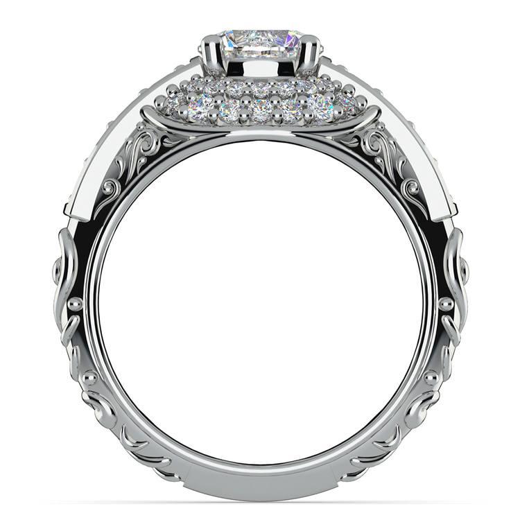Antique Halo Diamond & Sapphire Engagement Ring in Platinum | 02