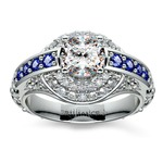 Antique Halo Diamond & Sapphire Engagement Ring in White Gold | Thumbnail 01