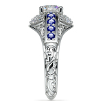 Antique Halo Diamond & Sapphire Engagement Ring in White Gold | Thumbnail 03