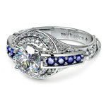 Antique Halo Diamond & Sapphire Engagement Ring in White Gold | Thumbnail 04
