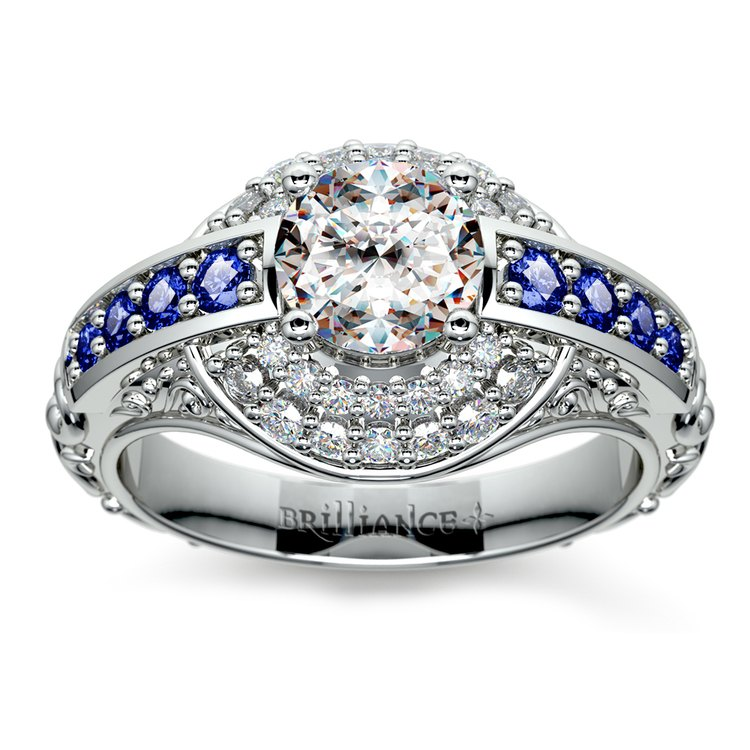 Antique Halo Diamond & Sapphire Engagement Ring in White Gold | 01