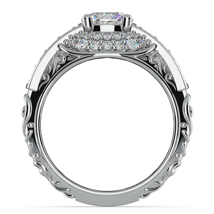 Antique Halo Diamond & Sapphire Engagement Ring in White Gold | 02