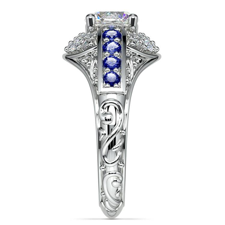 Antique Halo Diamond & Sapphire Engagement Ring in White Gold | 03