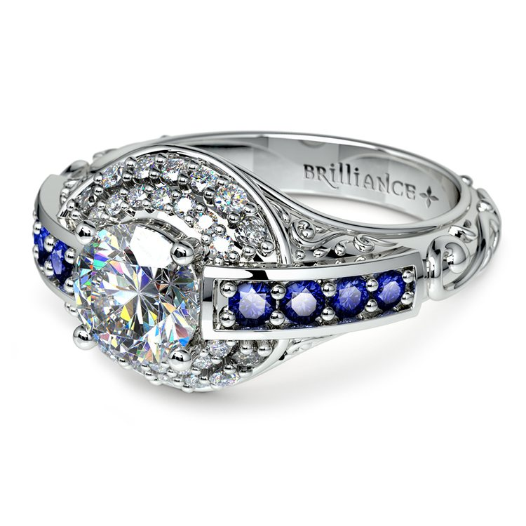 Antique Halo Diamond & Sapphire Engagement Ring in White Gold | 04