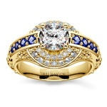 Antique Halo Diamond & Sapphire Engagement Ring in Yellow Gold | Thumbnail 01