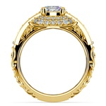 Antique Halo Diamond & Sapphire Engagement Ring in Yellow Gold | Thumbnail 02