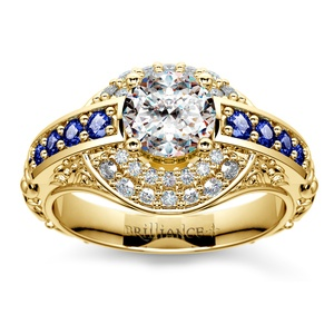 Antique Sapphire & Diamond Double Halo Ring In Yellow Gold