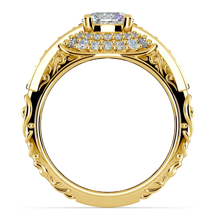 Antique Halo Diamond & Sapphire Engagement Ring in Yellow Gold | 02