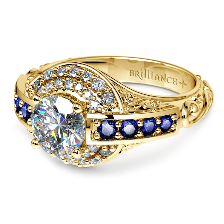 Antique Halo Diamond & Sapphire Engagement Ring in Yellow Gold | 04