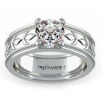 Antique Milgrain Solitaire Engagement Ring in White Gold | Thumbnail 01
