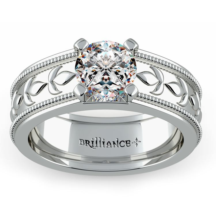 Antique Milgrain Solitaire Engagement Ring in White Gold | 01