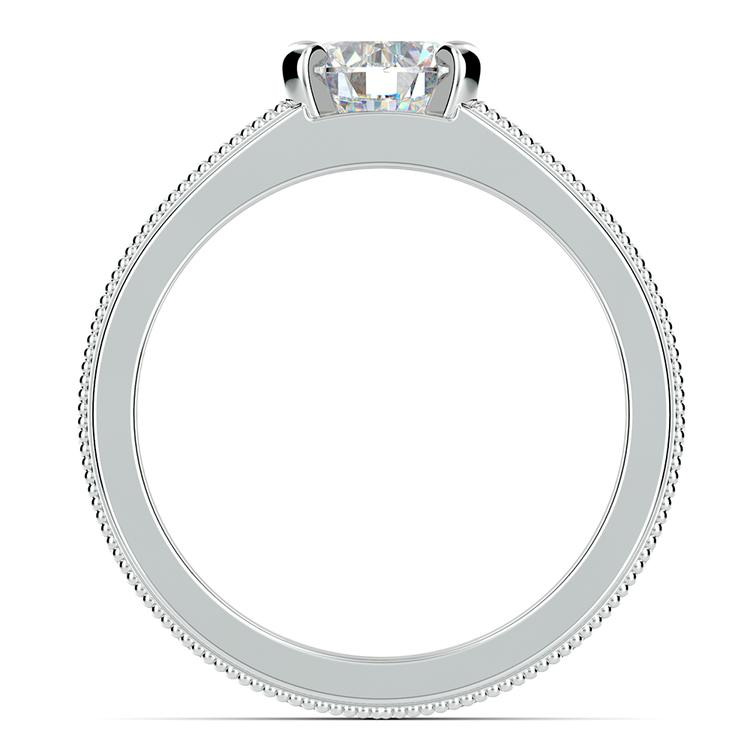 Antique Milgrain Solitaire Engagement Ring in White Gold   02