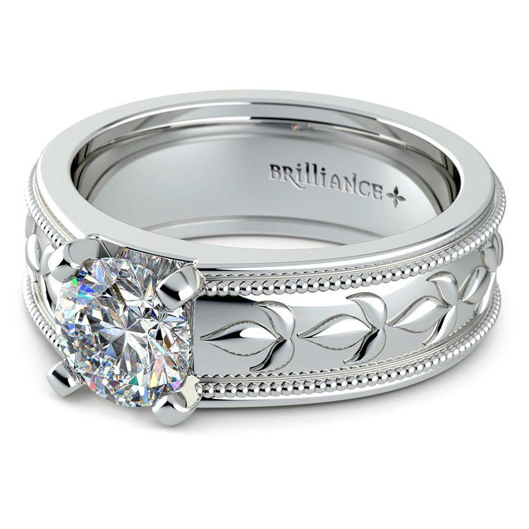 Antique Milgrain Solitaire Engagement Ring in White Gold   04